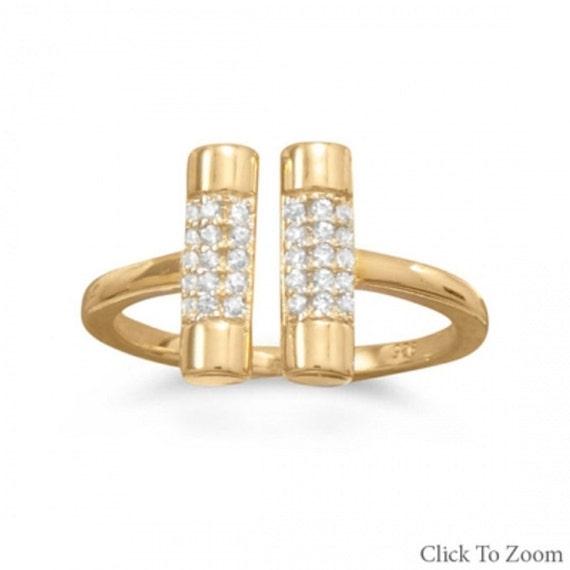 14 Karat Gold Plated CZ Bar Ring