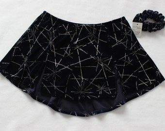 Figure Skating Skirts in Navy Velvet and Silver Glitter Kick Pleat Skirt Girls Size 14