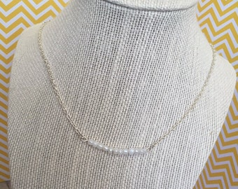 White Glass Beaded Bar Necklace, Silver Chain, Lobster Clasp. In adorable Wooden Gift Box.