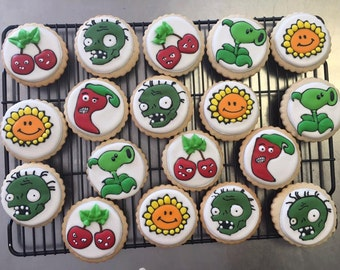 Plants vs Zombies Sugar Cookies with assorted characters.  Order is for one dozen (12) cookies