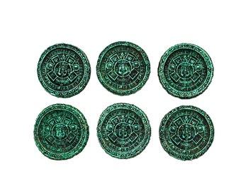 Aztec Green Resin Coaster Set