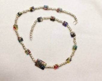 Milliflora Glass Beads with Silver Glass Beads Necklace