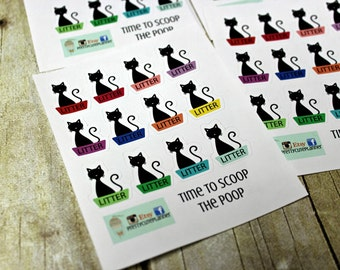 Kitty Litter reminder Stickers  - Pet Stickers- Bathtub stickers - Animal reminder stickers - Pet stickers - Time to scoop the poop