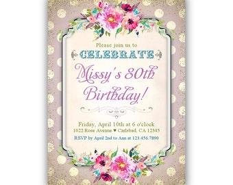 80th Birthday Invitation / Ladies Birthday Invitation / Floral Birthday Invitation / Gold Glitter Confetti Invitation / Adult Birthday Woman