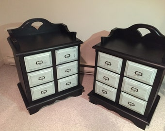 Library Card Cabinet Nightstand/End Table