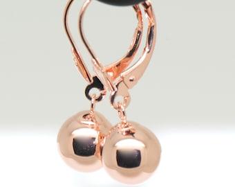 14K Rose Gold Hand Made Drop Dangle Leverback Ball Earrings Dangling Round Ball