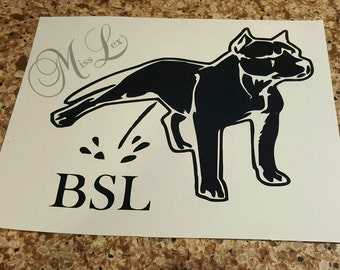Pitbull Peeing on BSL Decal