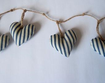 Handmade heart bunting ( ticking stripe nautical fabric) - garland