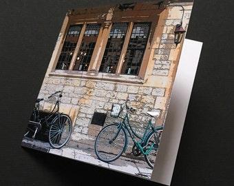 Greetings card, Oxford, two bikes, bicycle, square card, colour, digital, original