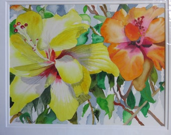Original Watercolor Hawaiian Hibiscus Yellow Orange