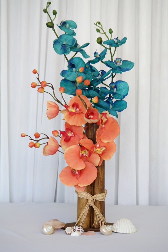 Coral Orchid Centerpiece : Items similar to centerpiece wedding coral orchids