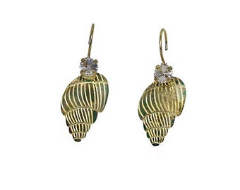 Shell earring with rivoli 29ss/ 6 mm with swarovski crystal