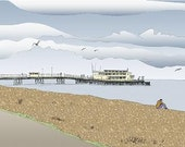 Worthing seaside print - Archival quality limited edition 'Gazing Out To Sea'