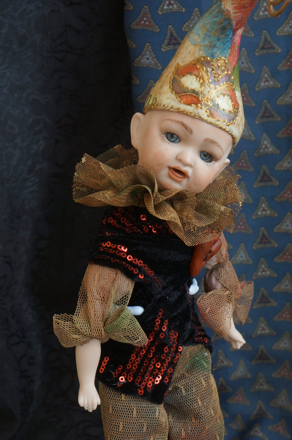 Antique collectible porcelain doll . Antique Bisque Doll. Doll