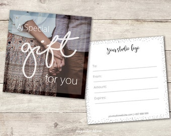 "Photography Gift Certificate Template - 5x5"" - INSTANT DOWNLOAD -A_116"