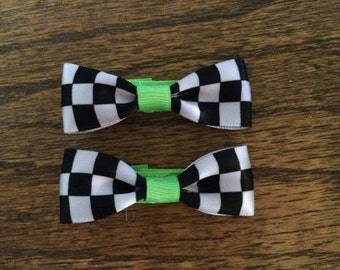 Checkered Barrette Set