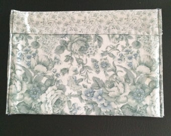 Turquoise Print Cosmetic Bag