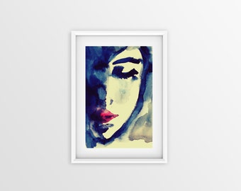 "SH4DE - Shade Watercolour Woman Face Painting Large Photo Poster Print (Sizes  18"" X 12"" / 24"" X 16"" / 36"" X 24"") - Green Blue Red"
