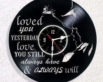 Vinyl wall clock LOVE