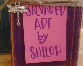 Wallet size photo display.jute twine frame.distressed purple.dragonfly charm.reclaimed wood.rustic decor.bohemian.boho chic.shabby chic.