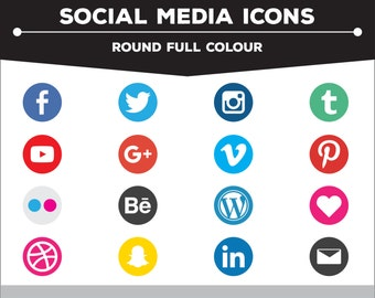 Social Media Icons - Round Full Colour PNG Files for Web, Blog, and Print