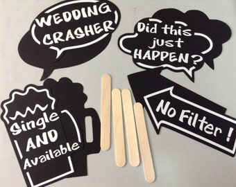 "10 Double sided Wedding Chalkboard Style Word Bubbles - Photo Props - ""Do-It-Yourself"" assembly - Create Your Own Wedding Photo Prop Signs"