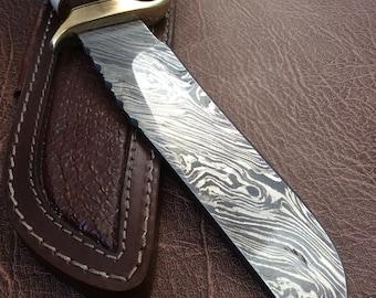 Alkaswa Handmade Damascus Knife with Leather Sheath