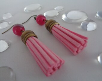 "Earrings ""pink tassel"""
