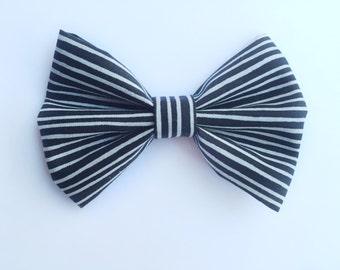 BIG Black and White Stripe Bow, baby headband, baby hair clip, hair bow, black bow, baby girl, girl toddler