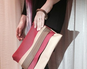 Clutch, faux leather clutch, red and brown clutch