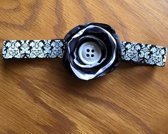 Black and White Satin Flower on Printed band