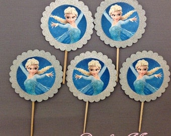 Frozen Cupcake Toppers, Elsa Cupcake Toppers, Frozen Glitter Cupcake Toppers, Frozen Picks, Elsa Picks, Elsa Glitter Cupcake Toppers