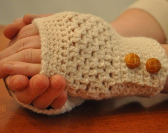 Beige FIngerless Gloves with Brown Leather Buttons 140033