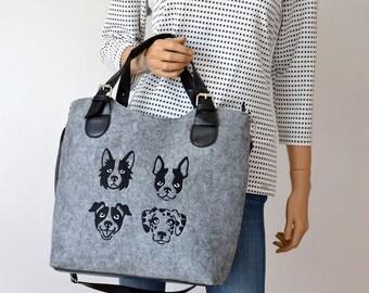 BAG DALMATIAN FELT,gray felt,felt bag