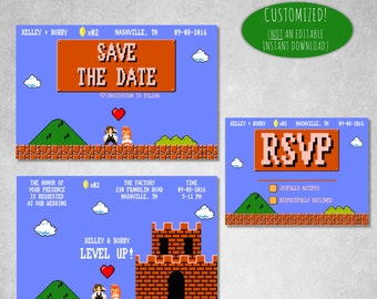 Gamer Wedding Invitation | Printable Gamer Wedding Invite | 8 Bit Wedding | Geek Wedding | Level Up Wedding | Gamer Save the Date 012-8Bit