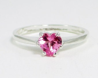 Small Pink Sapphire Heart Ring Sterling Silver