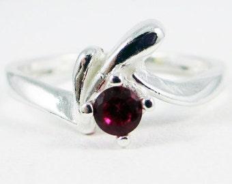 Sterling Silver Ruby Ring, July Birthstone Ring, 925 Ruby Ring, Sterling Silver Solitaire Ring
