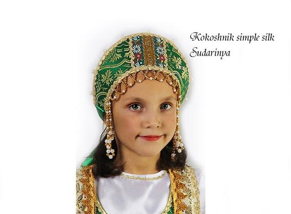 Russian traditional brocade kokoshnik, Russian crown, Russian beading headwear, Russian traditional hat