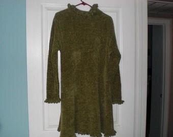 Green sweater dress with ruffles