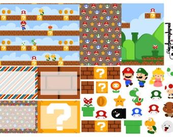 super mario bros. gamer weekly planner stickers- full box, half box, happy planner, erin condren, matte, glossy mini kit disney