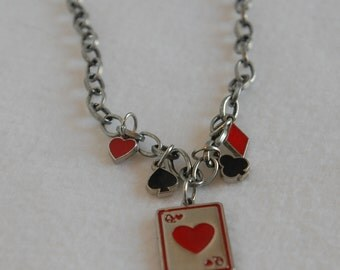 Queen of hearts suit silver charm necklace