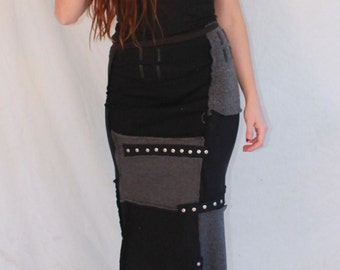 Our Handmade Patchwork Long Skirt in our Black / Grey Colorway