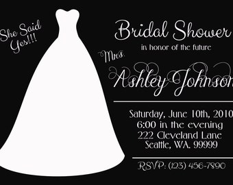 Bridal Shower Invitation, Bridal Shower Invite, She Said Yes, Wedding Shower Invite