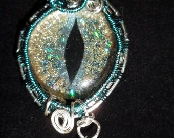 Wire Wrap Dragons Eye Pendant
