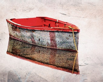 Cape Cod, Red And Gray Row Boat, New England Coast, Chatham,  Weathered Rowboat, Textured Photo, Cape Cod Wall Decor, Wall Art