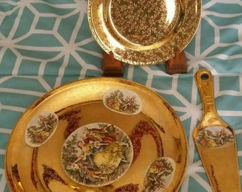 Vintage 22k Gold Cake Plate, Serving Plate and Server Victorian Collectible