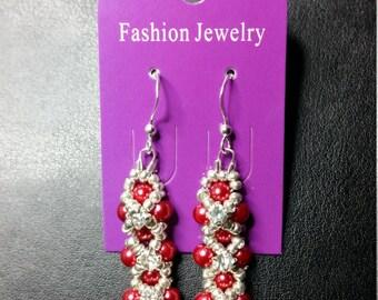 Handmade Red/Rhinestone earrings Gift