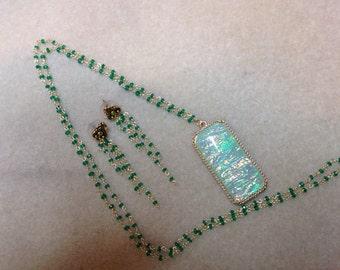 Opal like necklace and earrings