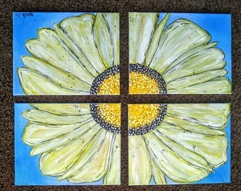 "Sunflower in Four Parts, Yellow on Blue Acrylic Painting on Canvas, Custom Made Multi Piece Flower Wall Art, 4 11""×14"""