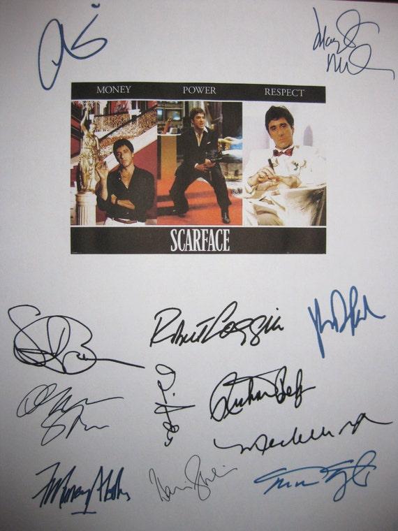 Scarface Signed Script Movie Film Screenplay X12 Al Pacino Michelle Pfeiffer Oliver Stone Steven Bauer autograph signature Mastrantonio
